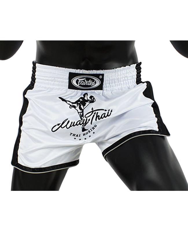 Fairtex Muay Thai Short satin weiß/schwarz BS1707