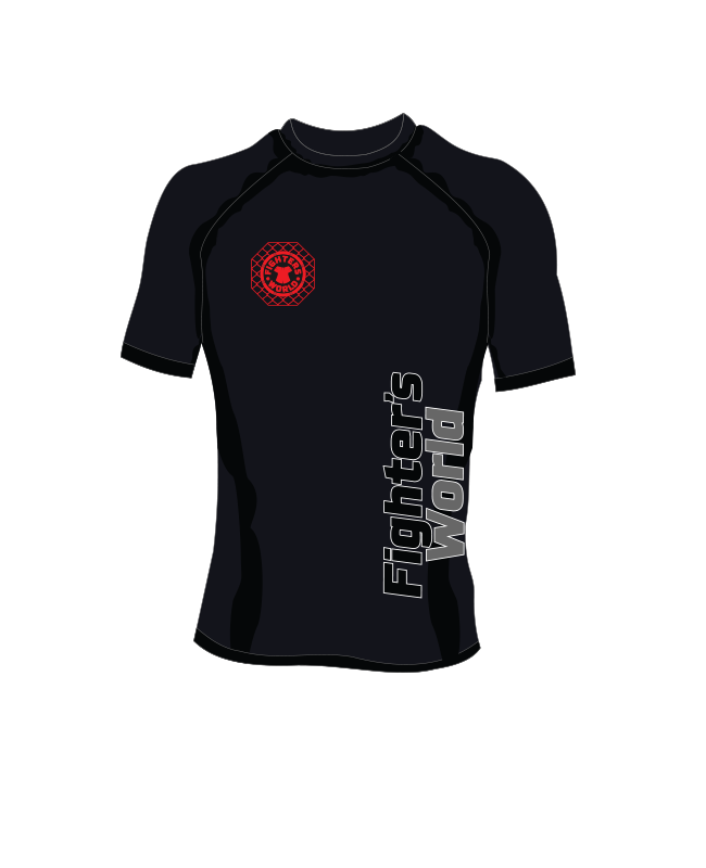 Fighter`s World Rashguard Octagon Kurzarm schwarz rot XS
