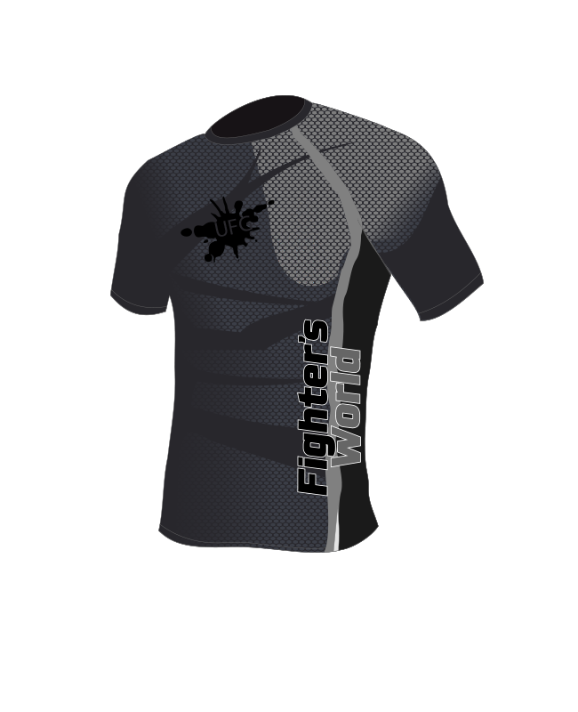 Fighter`s World Rashguard Langarm  UFG 2.0 schwarz grau