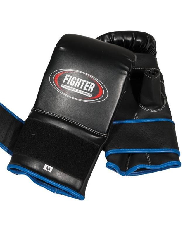 Fighter Boxsack Handschuhe Leder Bag Glove schwarz S