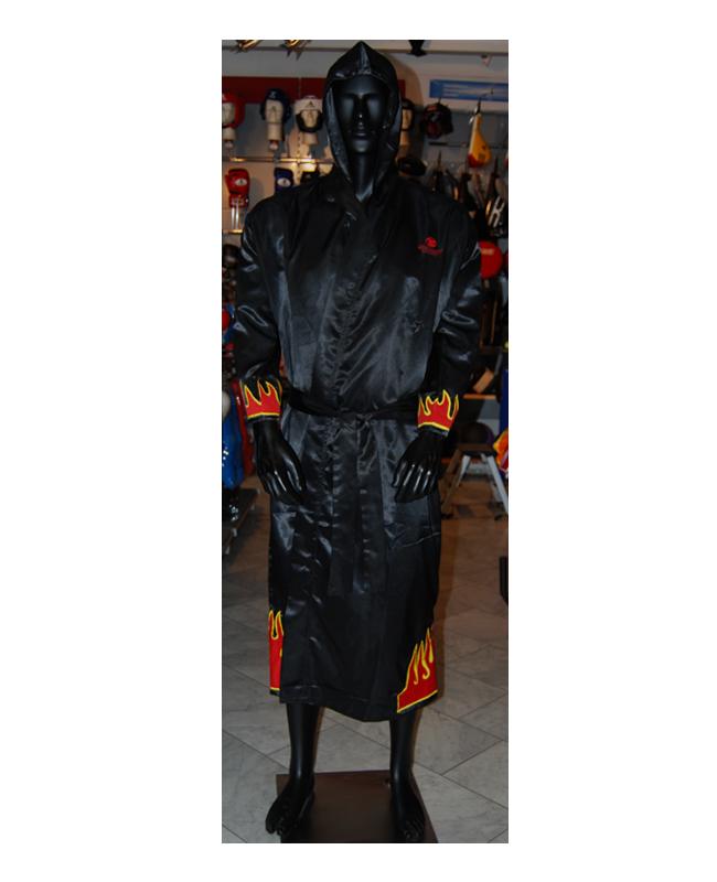 FW Boxer Mantel FLAME Gr. L schwarze Robe mit Flammen Motiv L