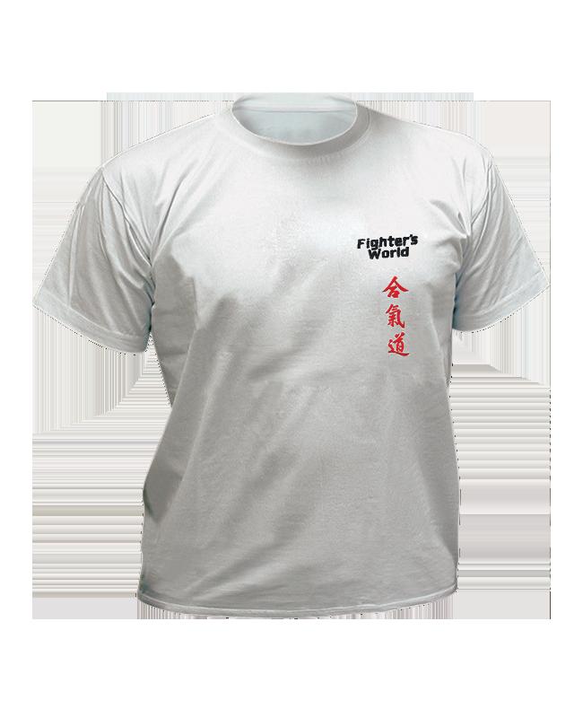 T-Shirt Aikido grau mit Bestickung L