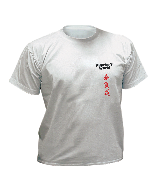 T-Shirt Aikido M grau mit Bestickung M
