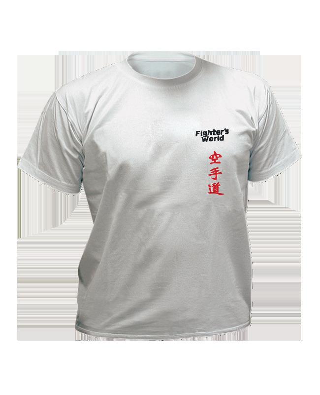 T-Shirt Karate XL grau mit Bestickung XL