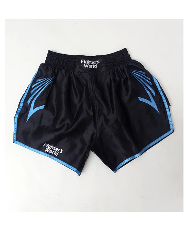 FW CORNER Thaibox Hose schwarz/blau Muay Thai Short