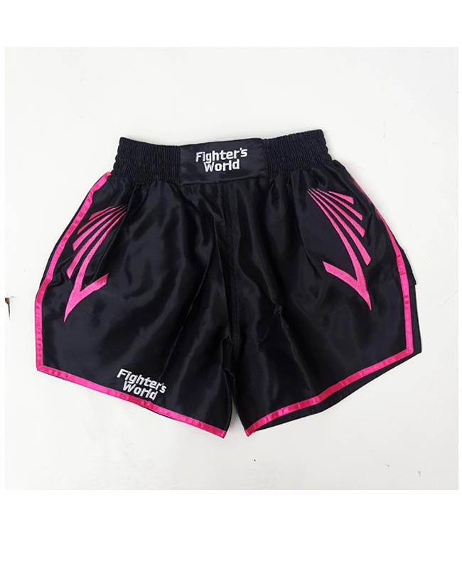 FW CORNER Thaibox Hose schwarz/rose Muay Thai Short pink