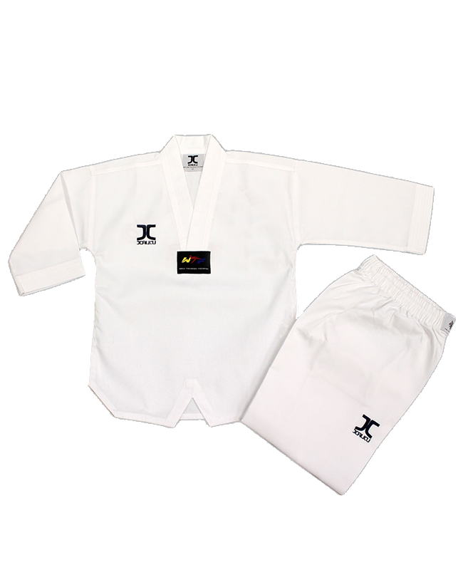 JCalicu CLUB Ribbed Uniform Gr.160  white Collar WTF approved JC-4002 160cm