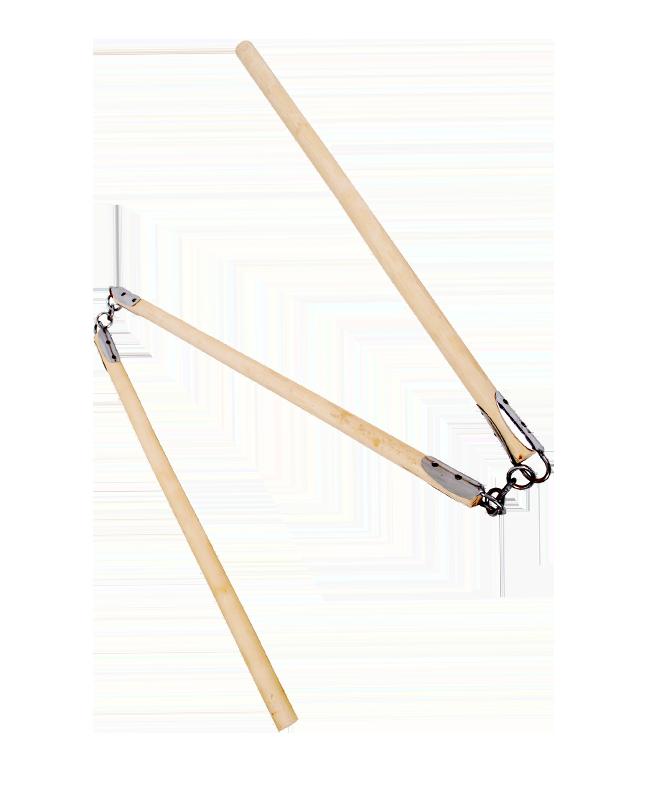Nunchaku Sansetsukon Rattan dreiteilig Griffe rund 66 cm