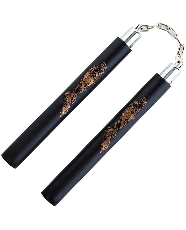 FW Nunchaku Soft Black Dragon Kette Griffe ca 32cm