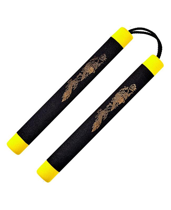 FW Nunchaku Soft Schnur schwarz/gelb Griffe ca 30cm