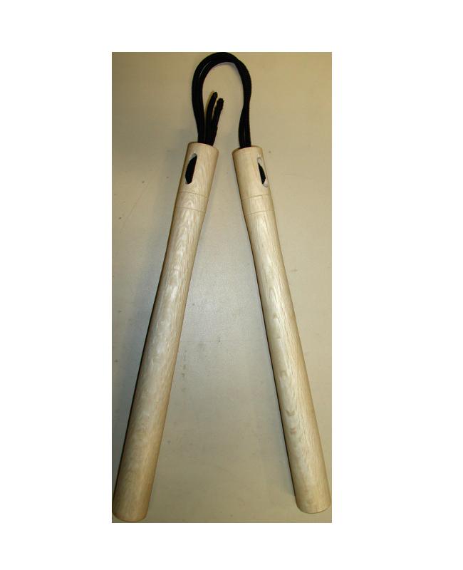 Nunchaku Demura Weißeiche Schnur Griffe rund 35cm 35cm