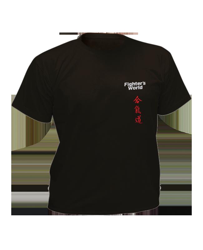T-Shirt Aikido S schwarz mit Bestickung S
