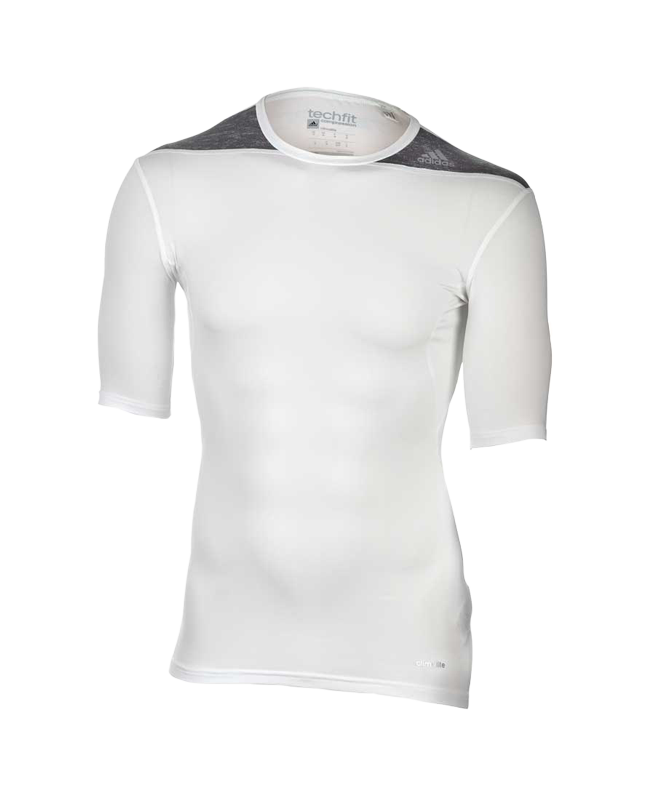 adidas Compression Shirt TECHFIT Base Kurzarm  weiss - D82012