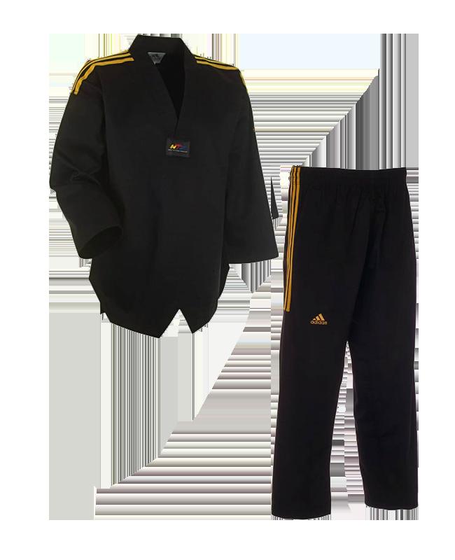 adidas taekwondo champion colour anzug schwarz gold 160 cm. Black Bedroom Furniture Sets. Home Design Ideas